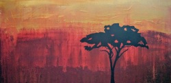 A young man started a collection of cultural masks from around the world. As a complement to his favourite mask, brought back from Africa, my client asked for a painting of an African sunset. The sycamore tree silhouette was the final piece added for the perfect finish.